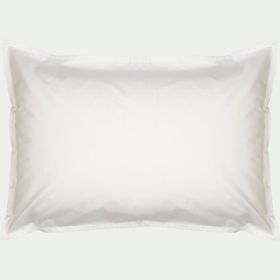 Lot de 2 taies d'oreiller en percale de coton - blanc ventoux 50x70cm-FLORE