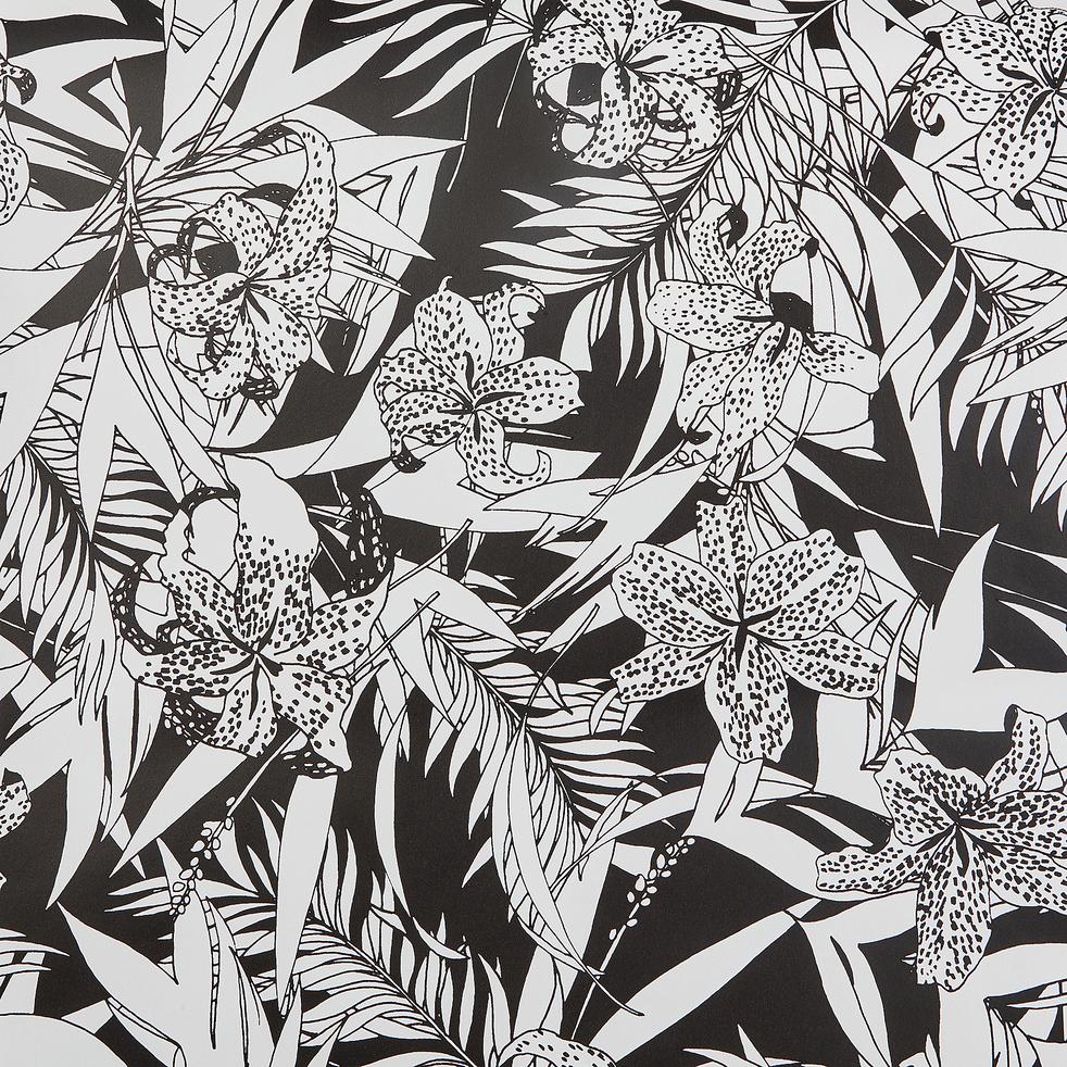 papier peint intissé motif orchidée noir et blanc 10m-ORCHIDEE