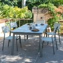 Table de jardin extensible en verre et aluminium - vert olivier (6 à 10 places)-Sausset
