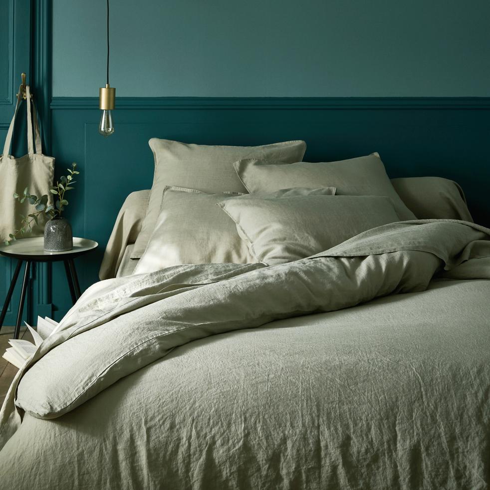 housse de couette en lin vert olivier 260x240cm vence 260x240 cm catalogue storefront. Black Bedroom Furniture Sets. Home Design Ideas
