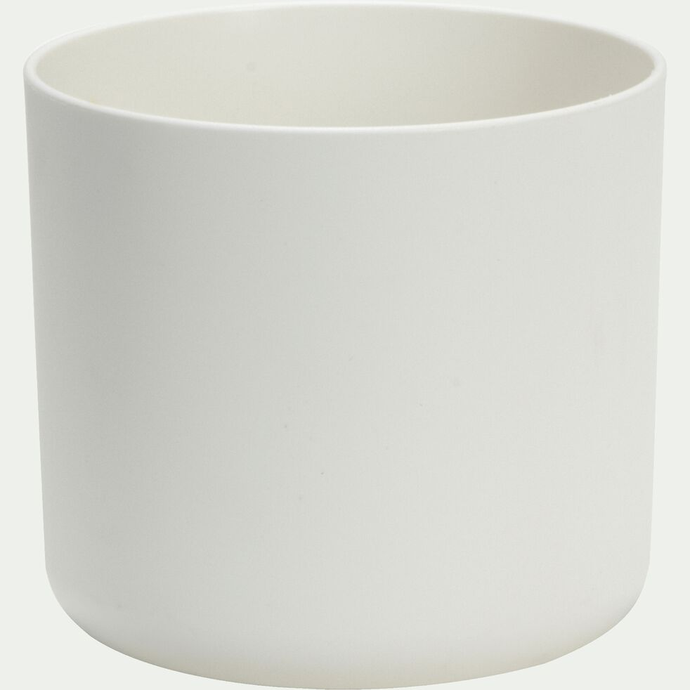 Cache-pot blanc en plastique H12,5xD14cm-B FOR
