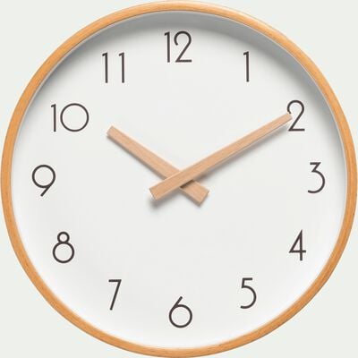 Horloge en bois blanche D26cm-Abelia