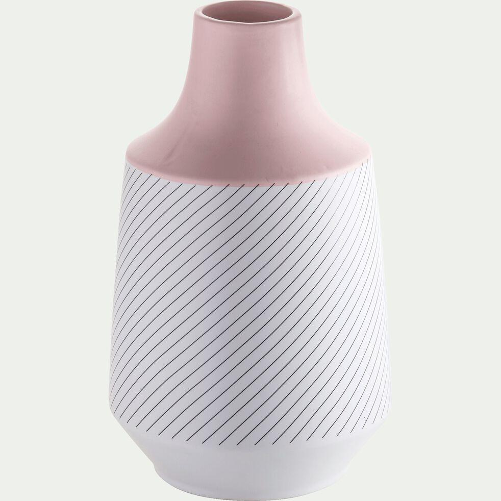 Vase bicolore rayé en céramique - rose et blanc H28cm-POP