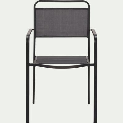 Chaise de jardin avec accoudoirs empilable gris anthracite-MATEO