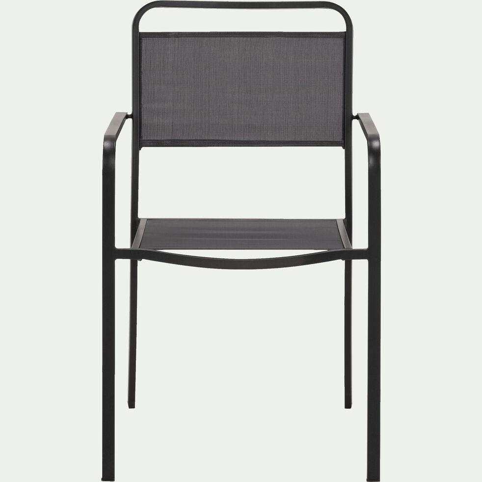 Chaise de jardin empilable avec accoudoirs - gris anthracite-MATEO