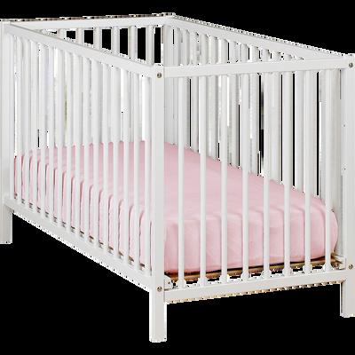 Lit bébé à barreaux en hêtre massif Blanc - 60x120 cm-Camille
