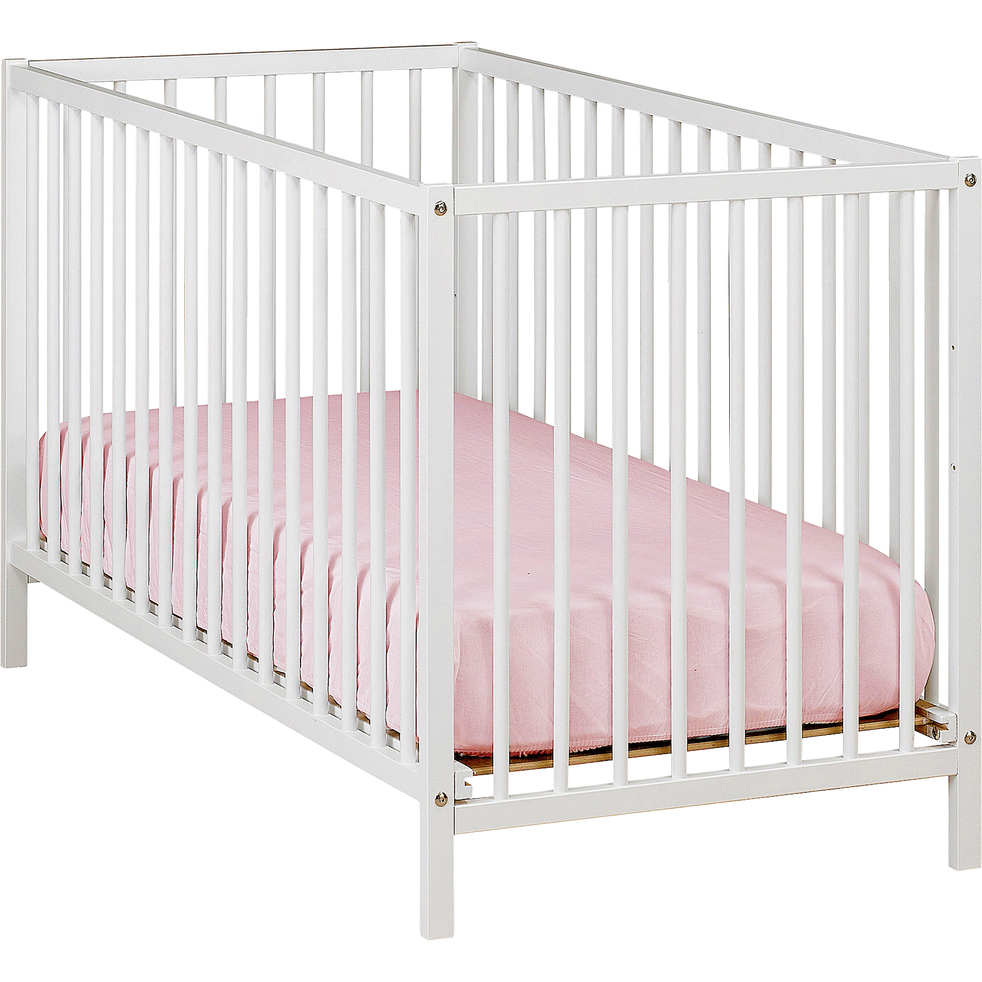 lit b b barreaux en h tre massif blanc 60x120 cm camille 60x120 cm catalogue. Black Bedroom Furniture Sets. Home Design Ideas