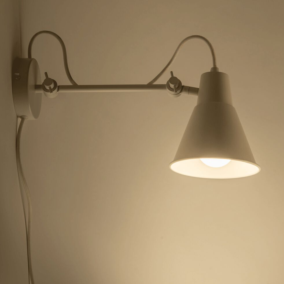 Applique orientable en métal - H30xD14cm blanc-BEYA