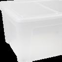Boîte transparente en plastique avec couvercle et roulettes 140L-MODULAR