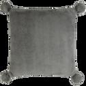 Coussin gris restanque 40x40cm avec pompoNs pour enfant-ISABY