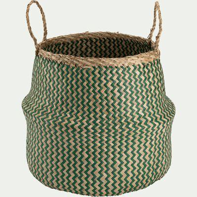 Panier pliable en jonc de mer et papier - vert D40xH40cm-Lola