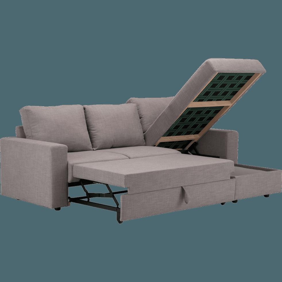 Canapé d'angle réversible convertible en tissu gris ...