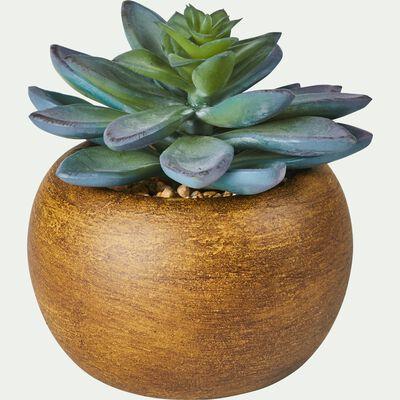 Succulente artificielle en pot - vert H10cm-SUCCULENTE