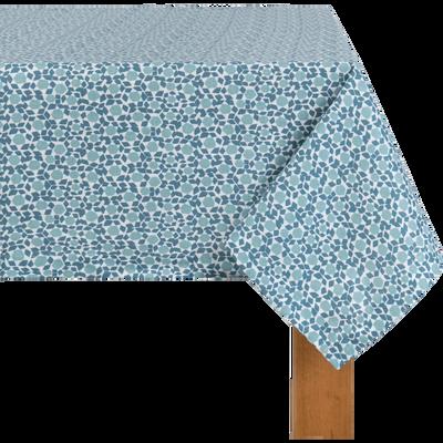 Nappe en lin et coton bleu à motifs 170x250cm-ZELLIGES