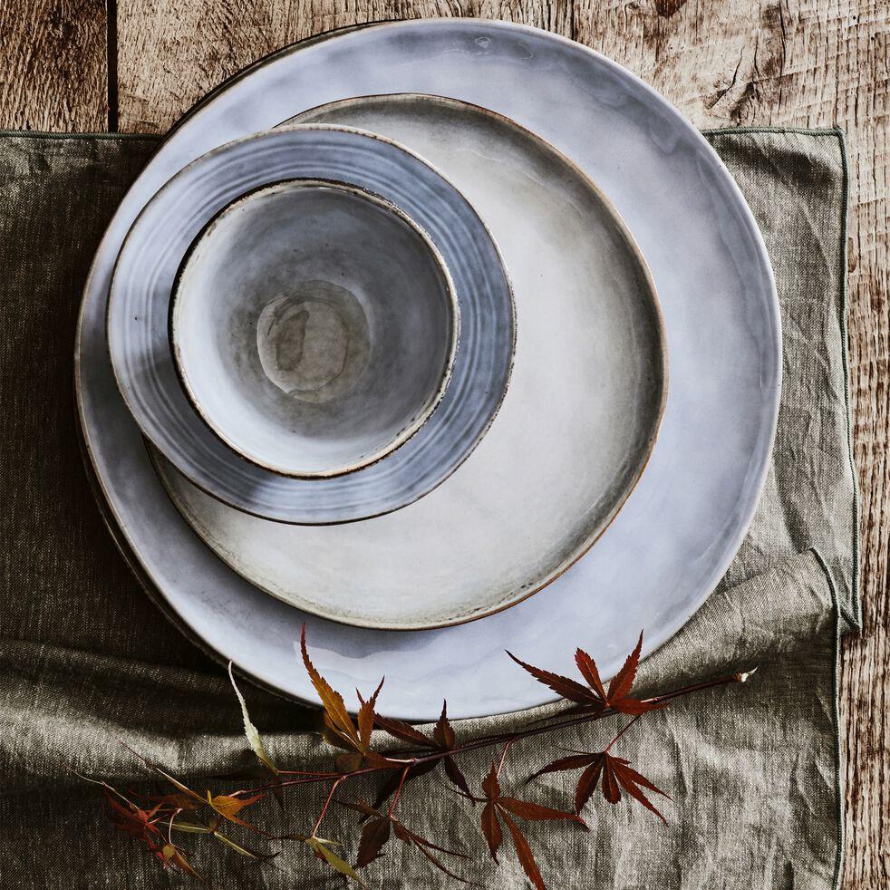 Assiette plate en grès bleu D27.5cm-ADAM