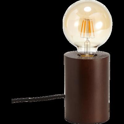 Lampe en bois foncé H12,5xD9cm-PRAO