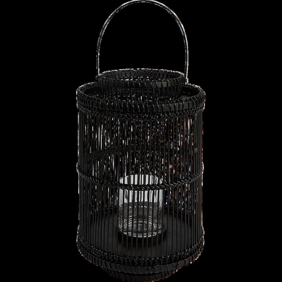 Lanterne en rotin noir D24xH53cm-PHILEMON
