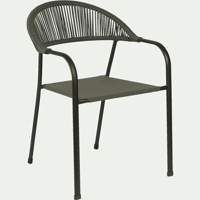 Chaise de jardin avec accoudoirs - vert cèdre-JADIDA