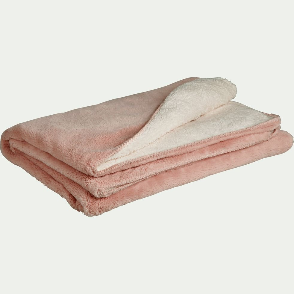 Plaid imitation fourrure en polyester - rose argile 180x220cm-MARIUS
