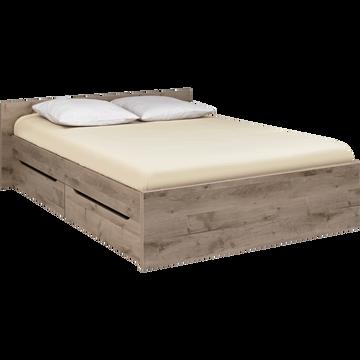 Lit 2 places avec tête de lit et tiroirs finition chêne cendré - 160x200 cm-BROOKLYN