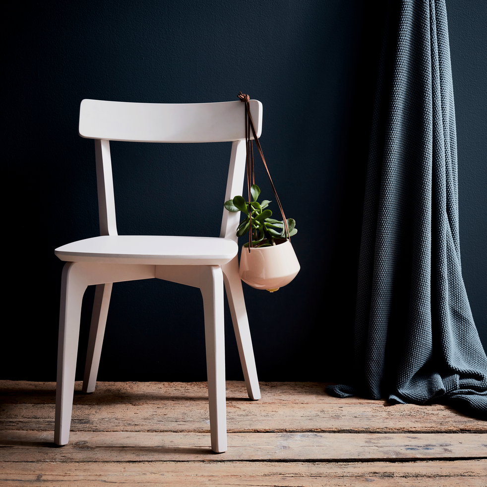 Chaise en bois blanc nougat-SUZIE