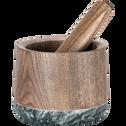 Mortier en bois de frêne et marbre noir-PILO