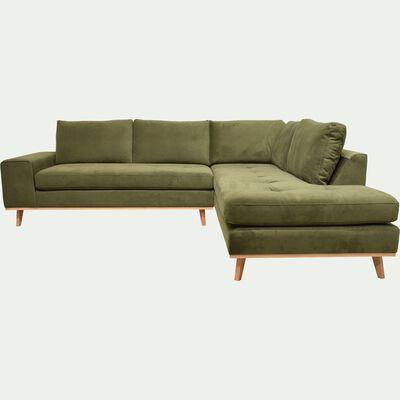 Canapé d'angle fixe droit en velours - vert garrigue-PICABIA