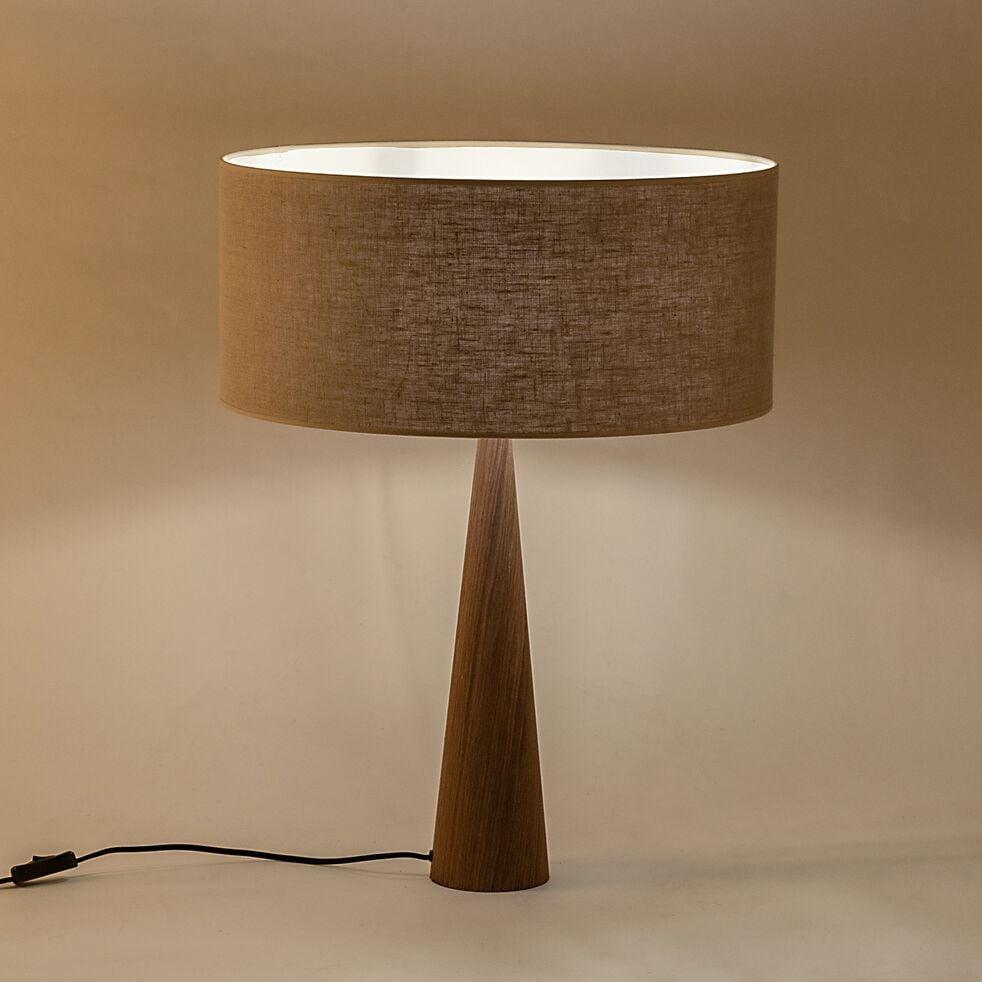 Lampe à poser en bois foncé - gris D50cm-KONE
