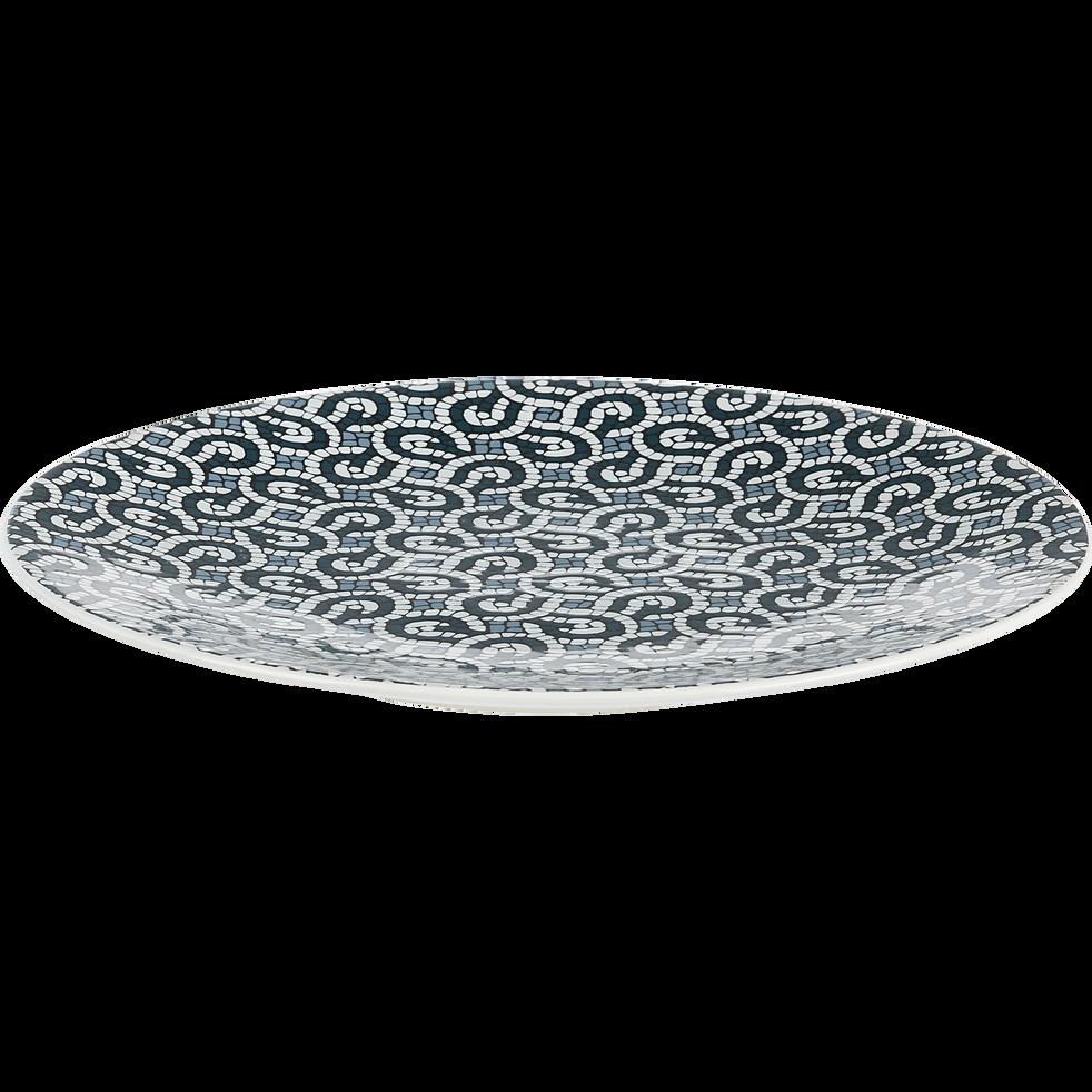 Assiette plate en grès bleu D27cm-MOSAIQUE