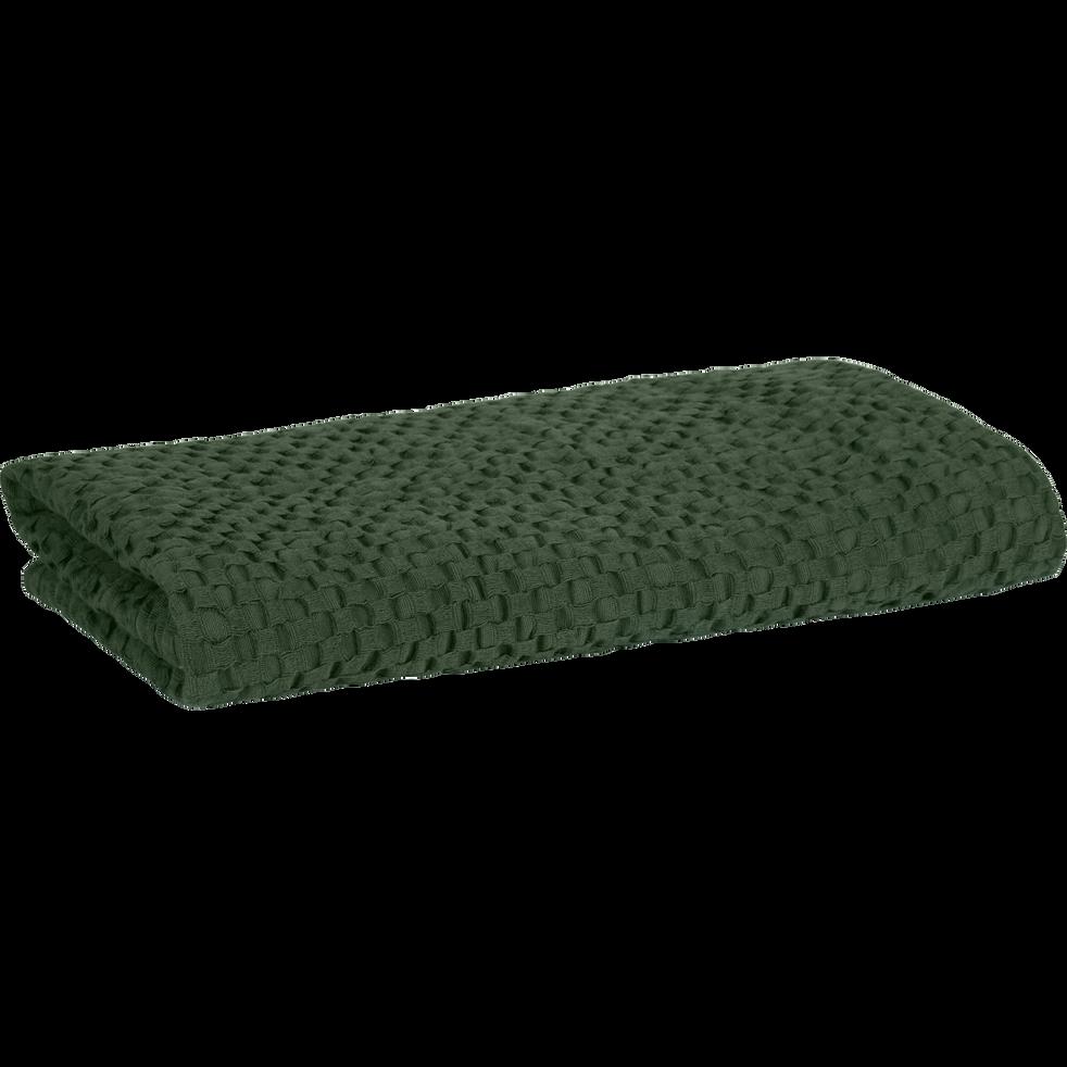 Serviette de toilette en coton nid d'abeille 50x90 cm vert cedre-CLEMATIS