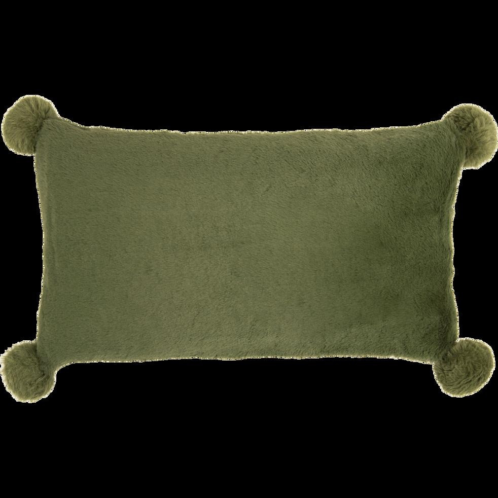 Coussin vert cèdre 30x50cm avec pompons pour enfant-ISABY