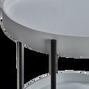 Bout de canapé rond à double plateau gris borie-ARNAVO