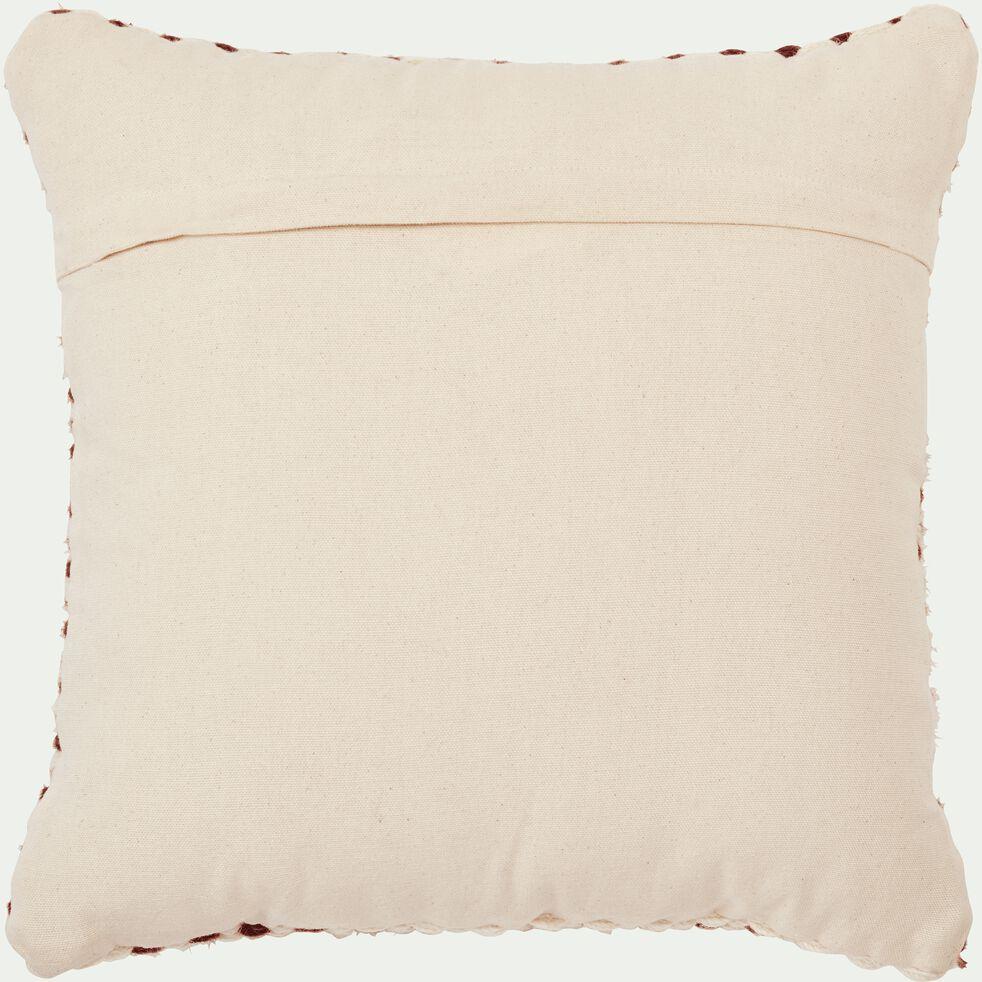 Coussin en coton et laine - beige et orange 40x40cm-ELLA