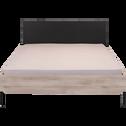 Lit 2 places finition bois clair et métal noir - 160x200 cm-CASTEL