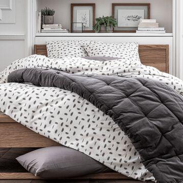 Housse de couette 140x200cm et 1 taie d'oreiller à motifs - gris-AUBE