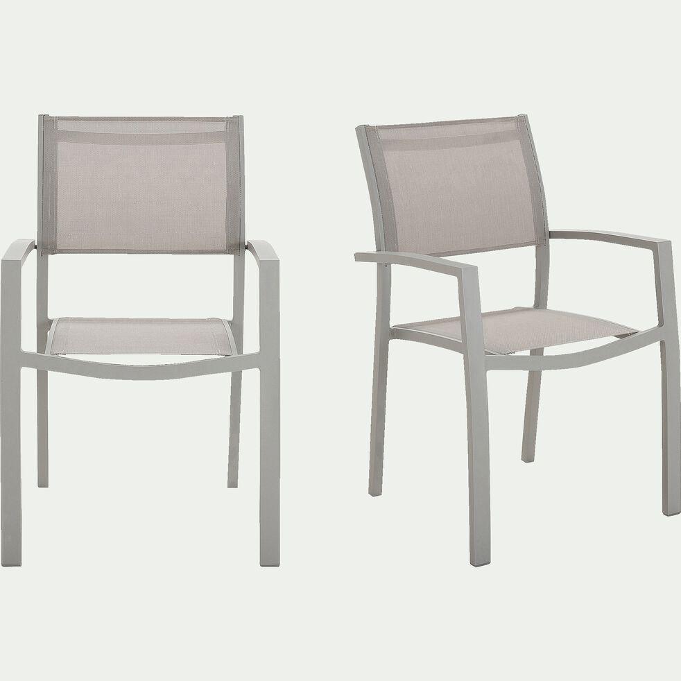 Chaise de jardin empilable en textilène avec accoudoirs gris vesuve-ELSA