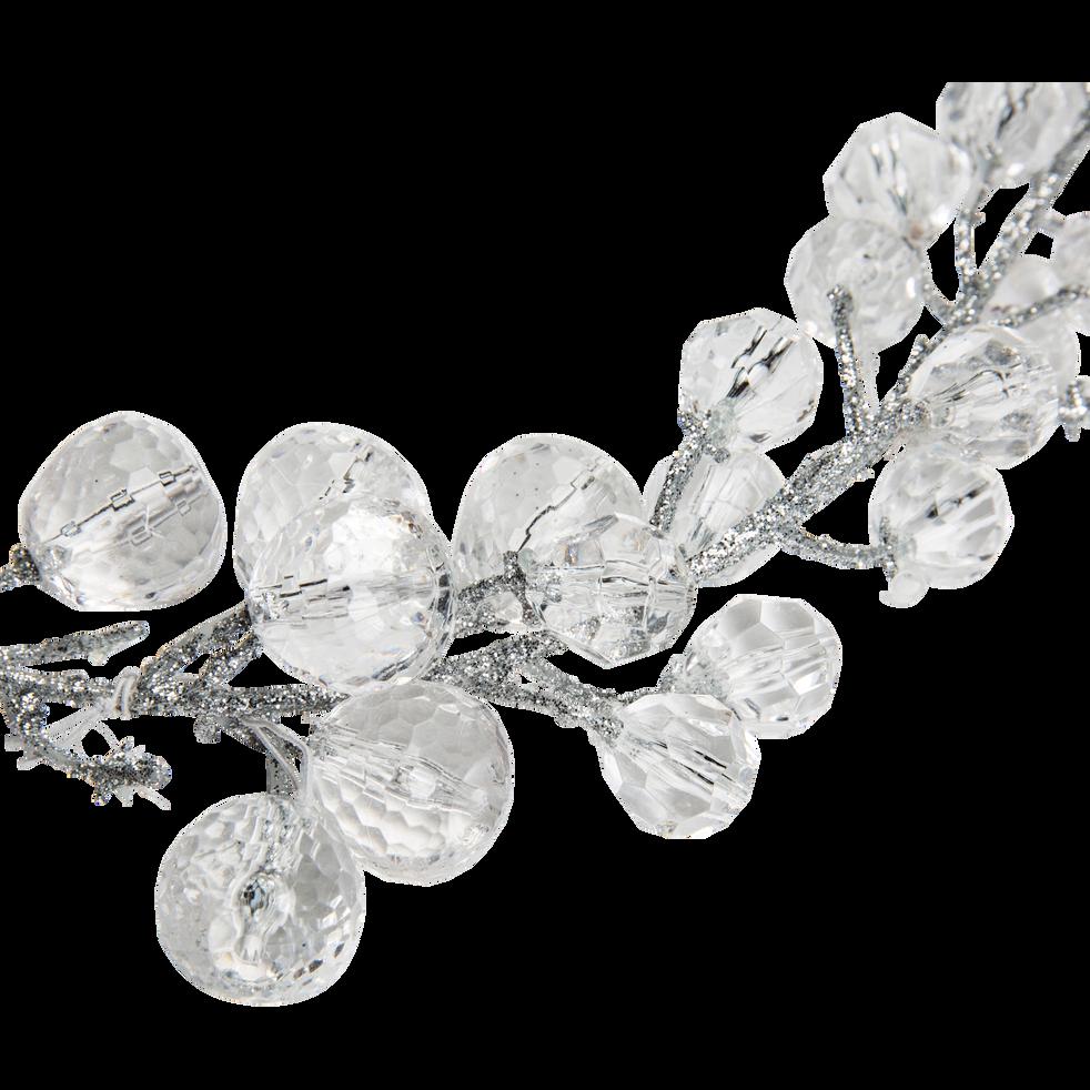 Guirlande de noël perlée argentée L110cm-OPALE