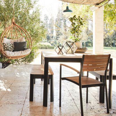 Table de jardin en aluminium et teck (6 à 8 places)-TASTA