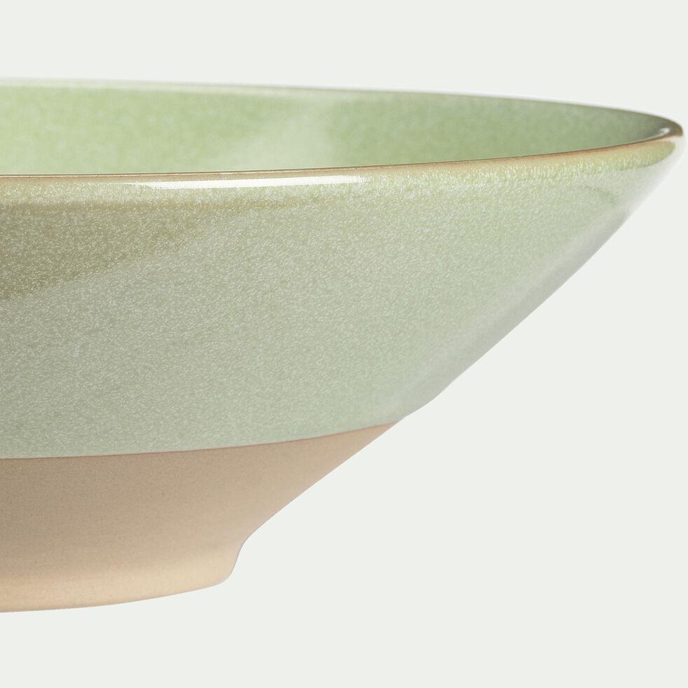 Assiette creuse en grès vert D25cm-ESQUIROU
