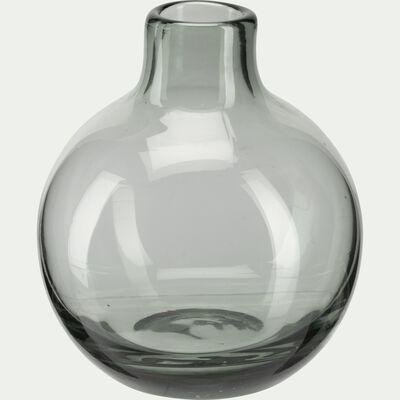 Vase rond en verre - gris restanque H11cm-TAPHOS