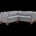 Canapé d'angle fixe réversible en tissu gris chiné-CHERIE