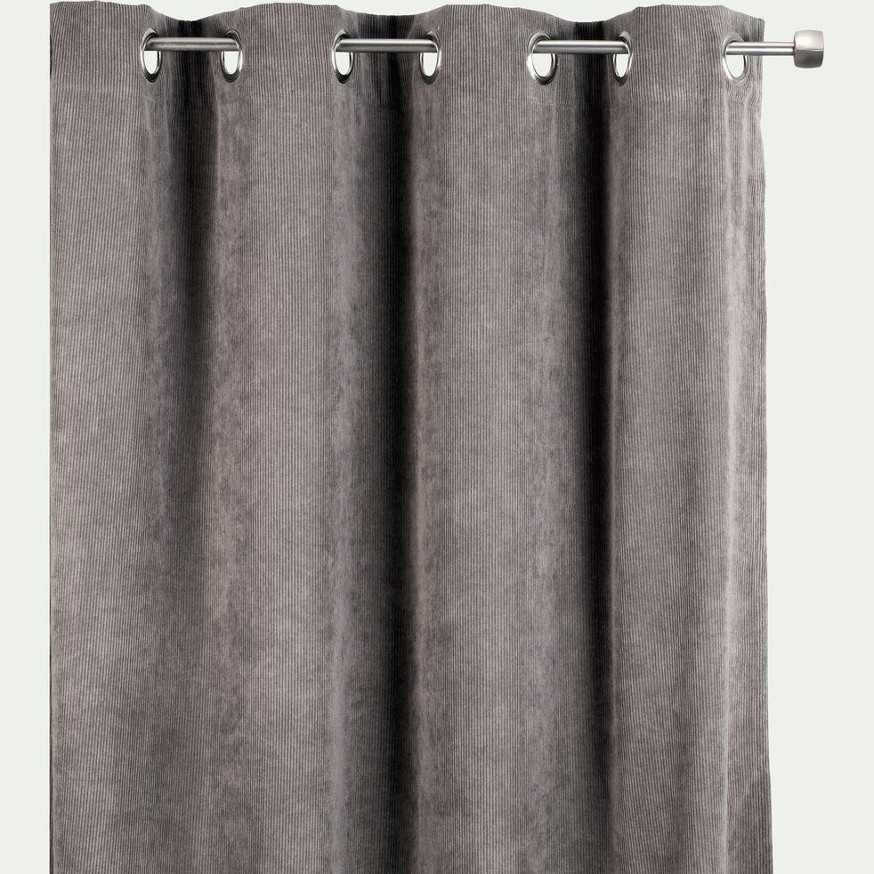 Rideau en velours côtelé gris 140x250cm-ODIN