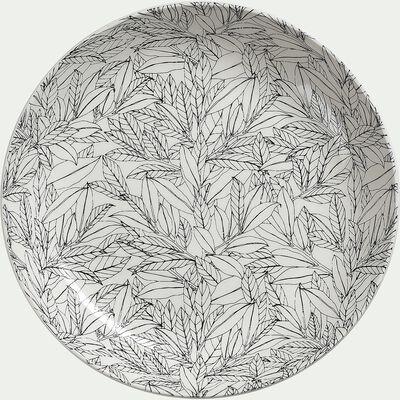 Assiette plate en porcelaine à motifs laurier - gris - D26cm-AIX