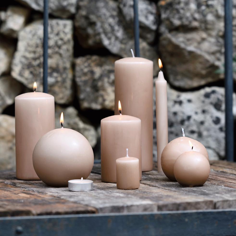 8 bougies flambeaux rose sable H18cm-HALBA