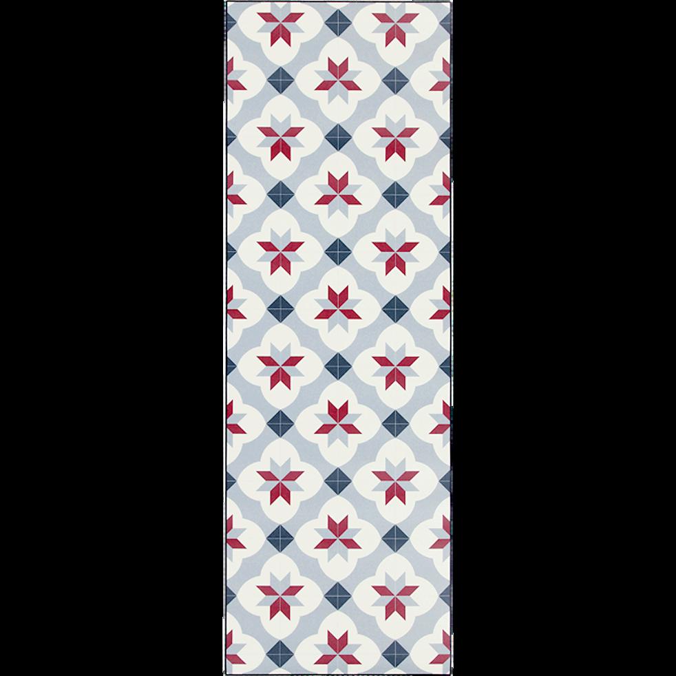 Tapis de couloir en vinyle gris et rouge 60x200cm-SOLANGE