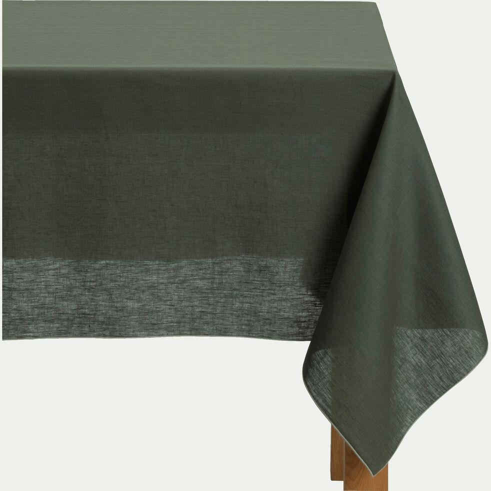 Nappe en lin et coton - vert cèdre 170x300cm-MILA
