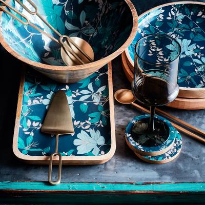 Set de 4 sous-verres en manguier et résine décorés-APHELIE