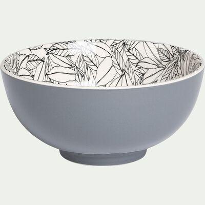 Bol en porcelaine - gris restanque motif laurier D15cm-AIX