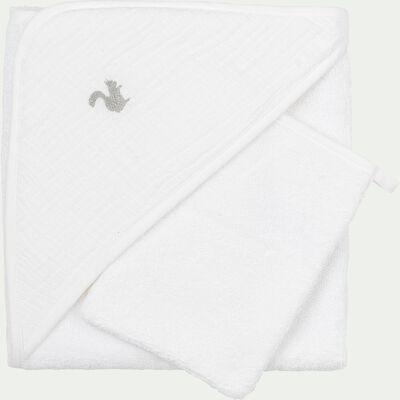 Ensemble cape de bain et gant bébé avec broderie lurex - blanc-Nuage