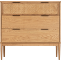 Commode 3 tiroirs en chêne massif et rotin-ARTHURA